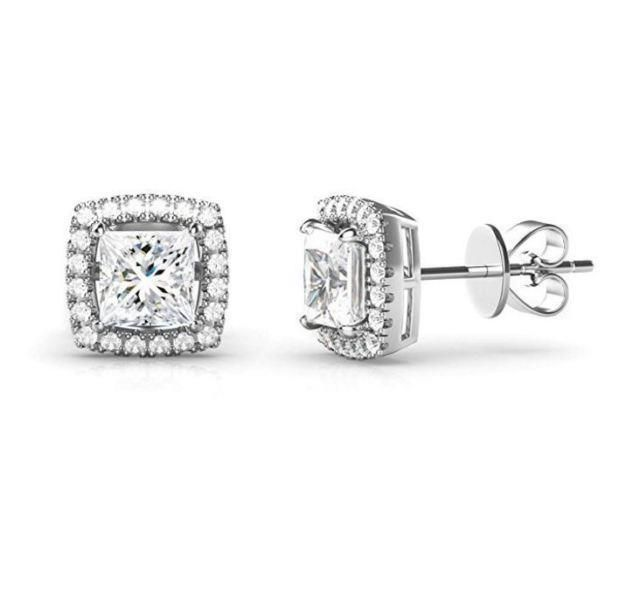 1//8-1ct,Excellent Quality 14k White Gold Men Round Diamond Simulant CZ SINGLE STUD Earring 4-Prong