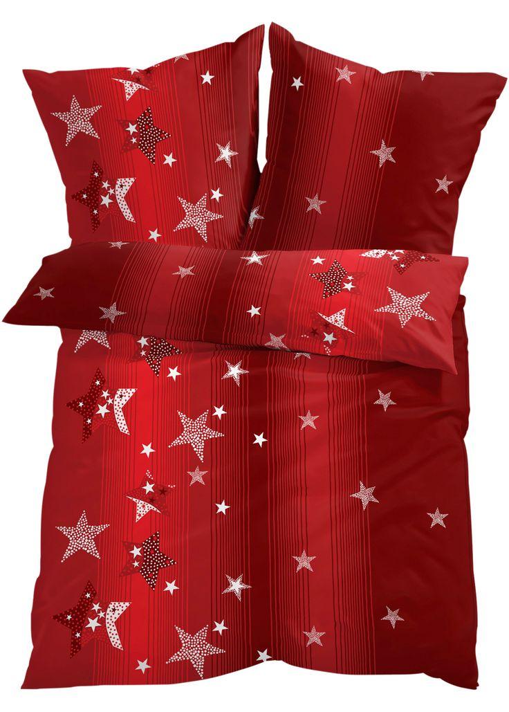 """Bettw�sche """"Sternchen"""", Feinbiber rot - bpc living jetzt im Online Shop von bonprix.de ab ? 19,99 bestellen. Sch�ne Sternchen-Motiv-Bettw�sche, bringt eine ..."""