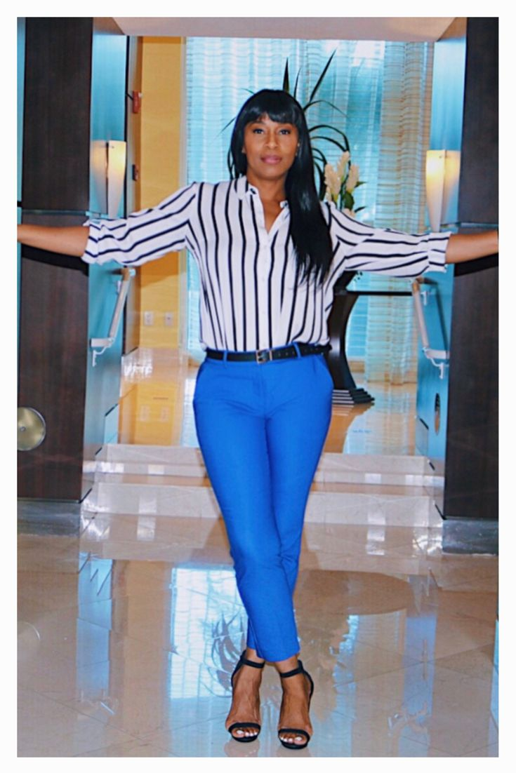 ed7a1bed93 African American woman, Express Blue Pant and Black & White Striped Shirt,  block heel
