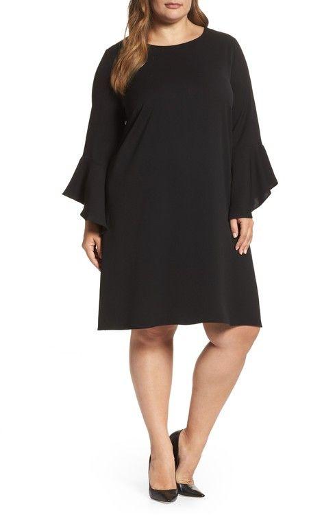 Main Image - Glamorous Bell Sleeve Shift Dress (Plus Size)