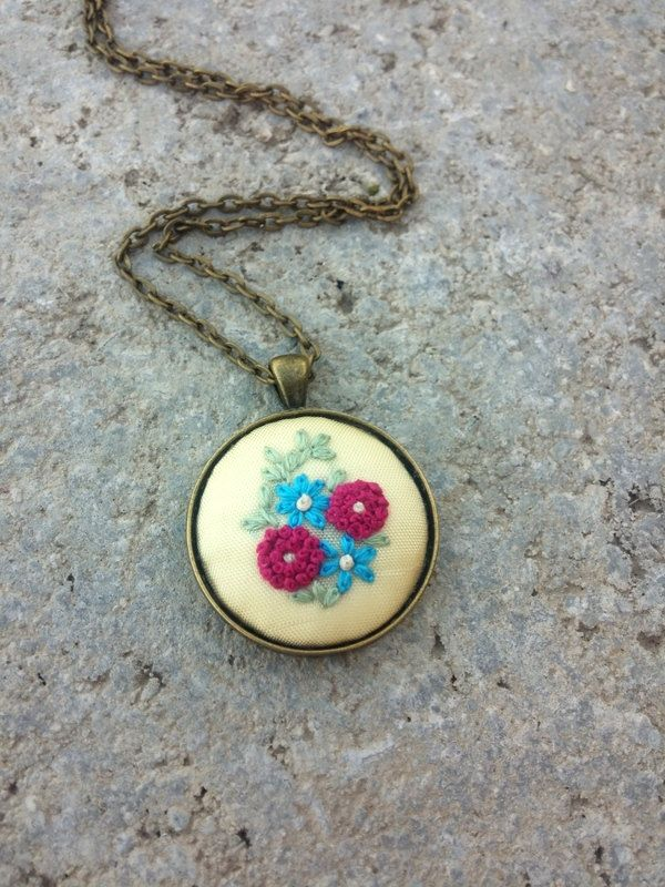 Boho Gipsy Chic Jewelry, Cute Pink Blue Flowers Necklace, French Knot Embroidery by RedWorkStitches on Etsy