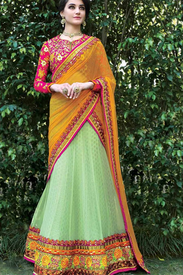Sea Green, Pink & Yellow Silk & Net Designer Lehenga Choli