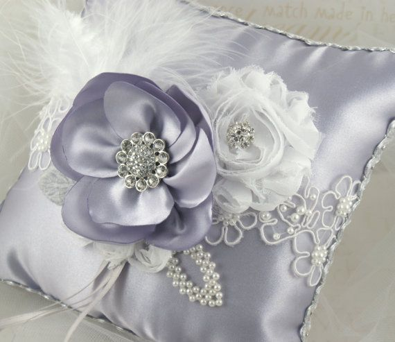 Ring Bearer Pillow in Silver and White with Handmade by SolBijou, $80.00