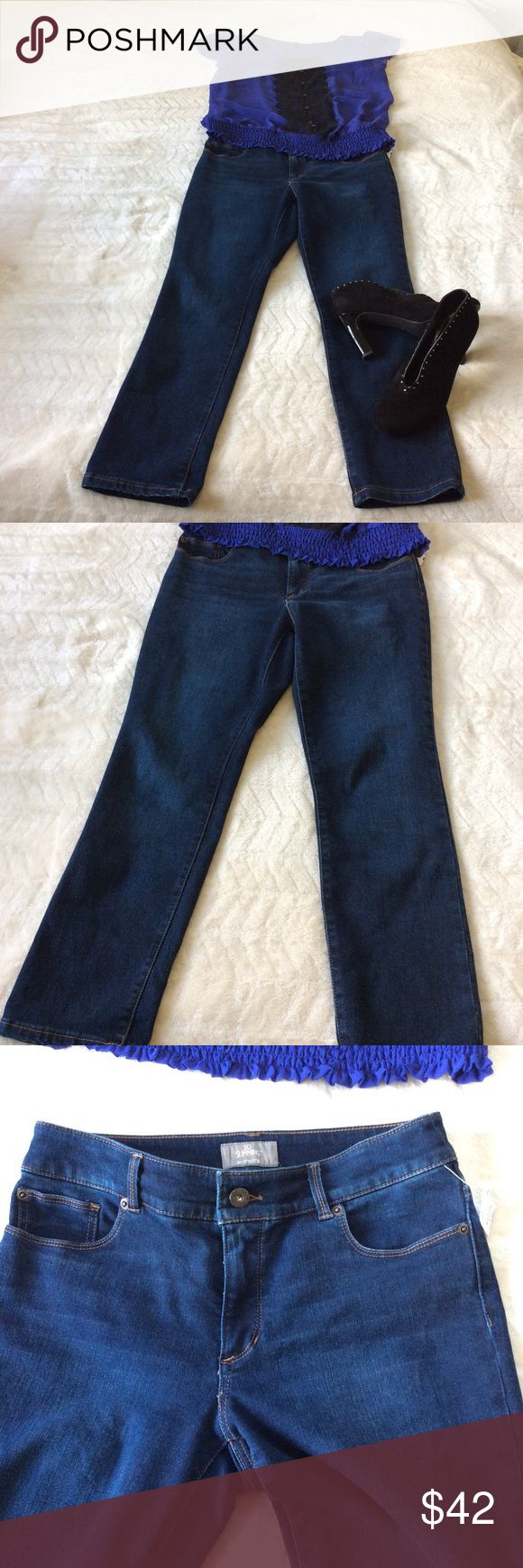 So Slimming by Chico's Great Condition - Size 0.5 So Slimming by Chico's jeans. Nice Dark wash from the Chico's Platinum Collection. It has a nice Stretch to them and are in wonderful condition. Size 0.5; which according to their size chart is a 6. Chico's Jeans Skinny
