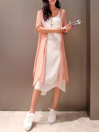 6e4b968f98b Crew Neck Women Casual Dresses Two Piece Going Out Casual Solid Dresses
