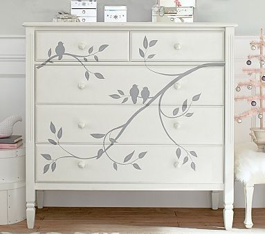 Madeline Painted Dresser (I can make this with a plain dresser, antique white paint and a stencil-daughters room)