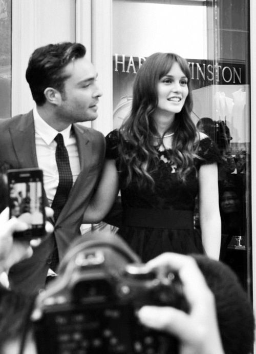 Leighton Meester and Ed Westwick at Harry Winston store opening in Shanghai <3