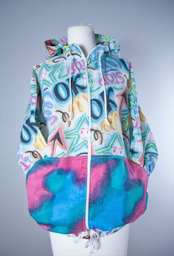 Vintage Colorful Jacket with front and back by MiauhausLook