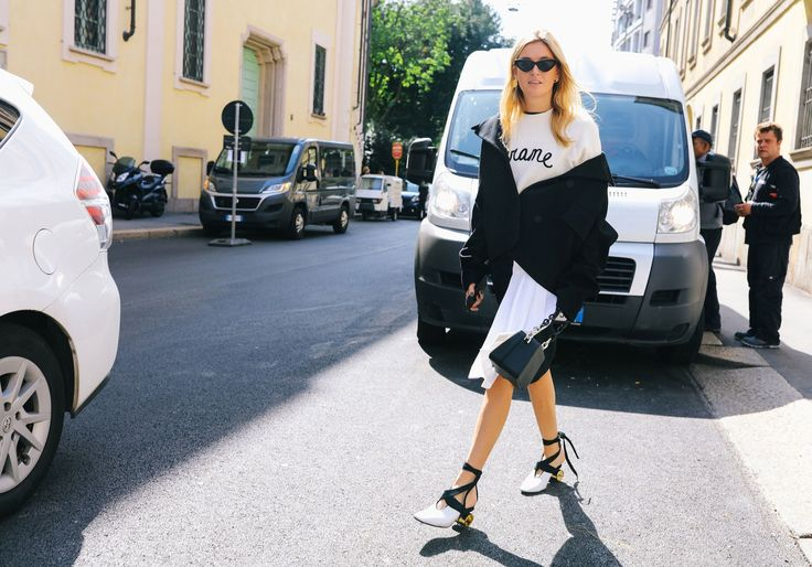 Camille Charrière in Krizia, a Frame sweater, and JW Anderson shoes