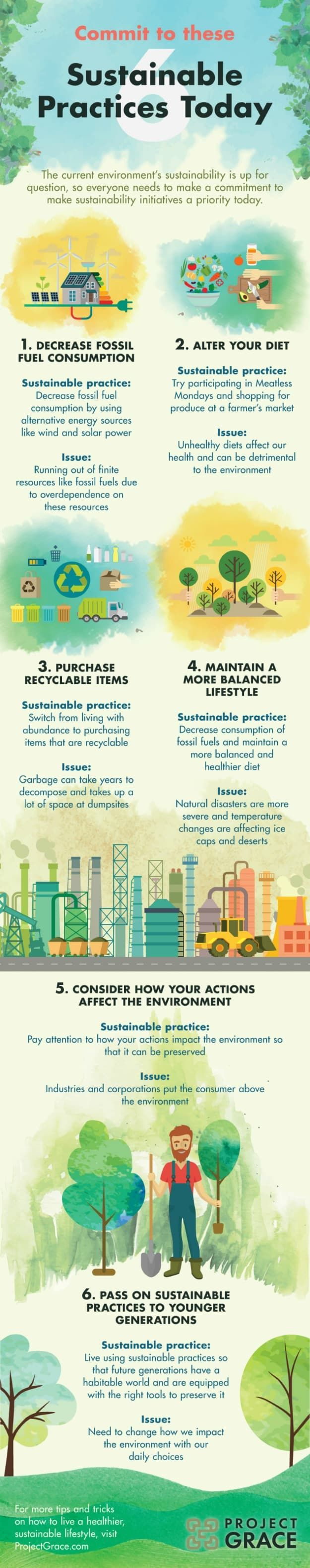 We've made an infographic that will help you commit to 6 sustainable practices with the objective of preserving Mother Nature for future generations.