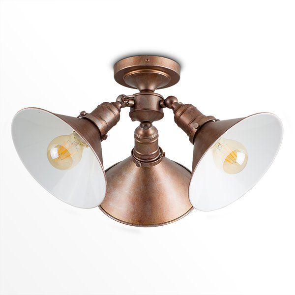Helios ceiling spotlight industrial style LED ceiling light fitting. Adjustable knuckle joint coolie shades giving you control of the light direction. This stylish ceiling light is perfect for adding a contemporary edge to any room of your home. As it sits ceiling spotlight it is perfect for rooms with low ceilings. Comes supplied with MiniSun 4W LED vintage filament bulbs. These bulbs feature an amber tinted glass and a beautifully detailed filament. E27
