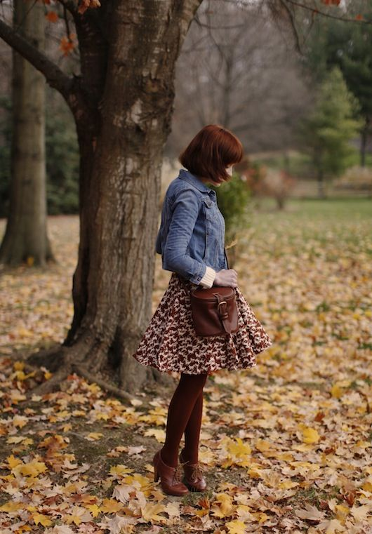 The clothes horse fashion blog  Skirt, denim jacket, color scheme