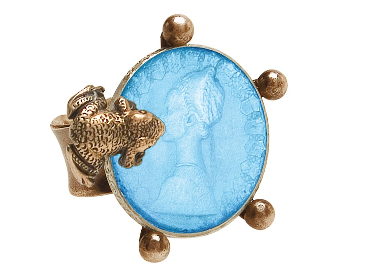 Ranascimento collection: ring with frog in bronze and coin in enamelled silver.