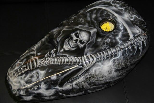 Awesome grim reaper paint job on a motorcycle gas tank.  Painted by Luke Johnson