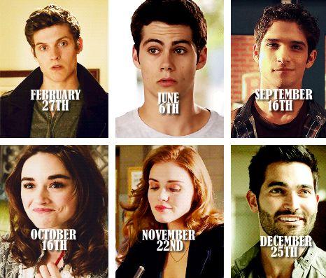 Character Birthdays according to the Teen Wolf calendar
