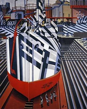 Dazzle Ships in Drydock at Liverpool, (1919) by Edward Wadsworth