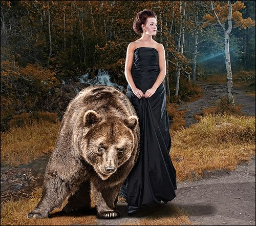 Bear came from stock xchange Everything was lit on location. Two speed lights were on either side slightly behind her. Elenchrom ringflash was used as fill withmy ranger pack. Model standing on chair. Model: Madison Photographer: Dean McClelland Hair and wardrobe:Kristin Page