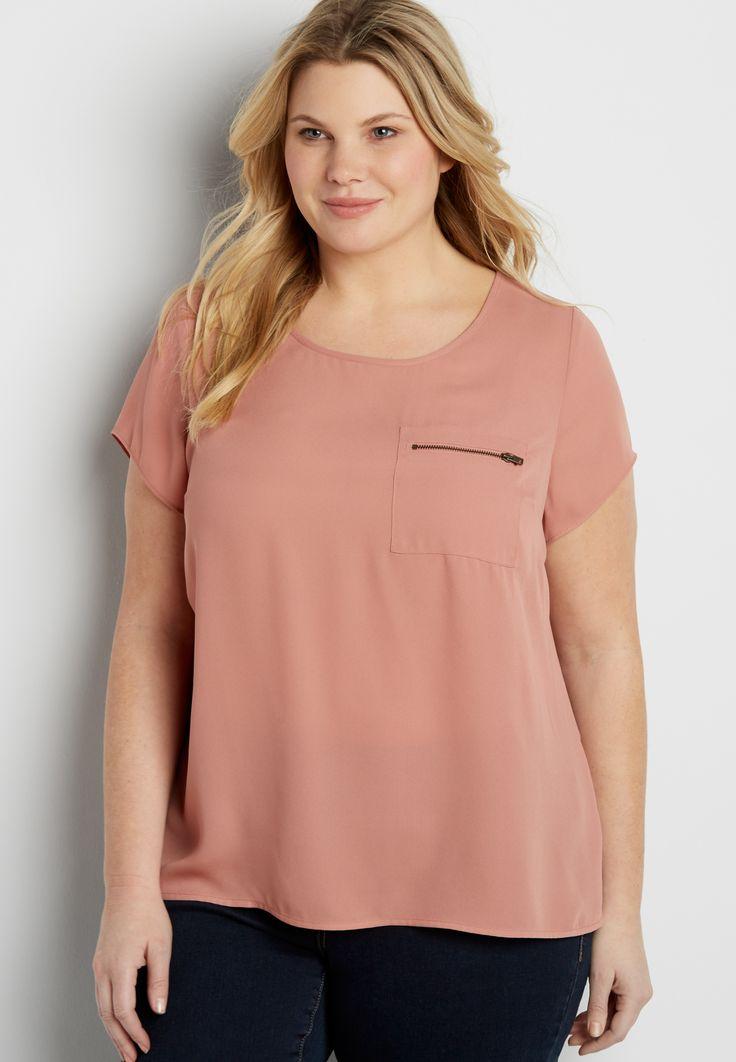 Short Sleeve Blouse with Zipper Pocket