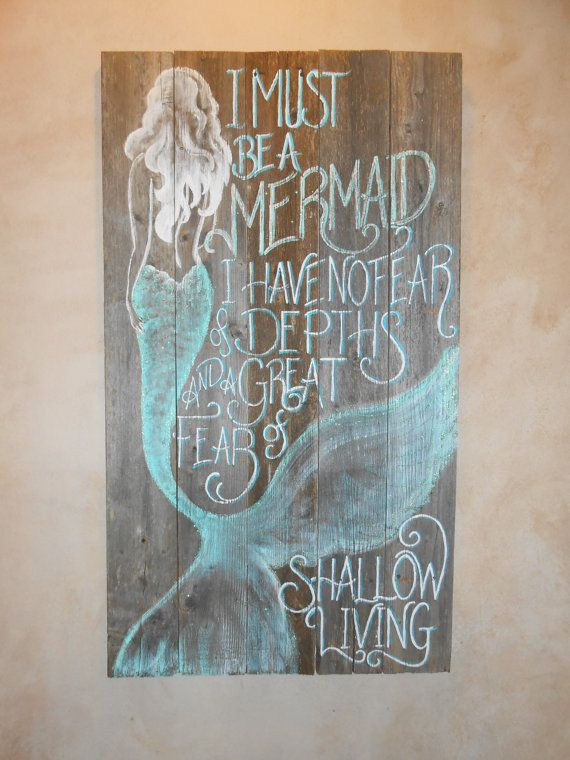 I can see this in my Bathroom :) Barnwood Mermaid Sign Hand Painted Original by tawnystreasures, $120.00