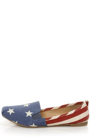 Check it out from Lulus.com! We're all about life, liberty, and the pursuit of adorable shoes! Embrace this American ideal with the Bamboo Rosalba 01 Red Canvas Stars and Stripes Deck Shoe Flats! A lightly distressed flag print looks patriotically pretty on canvas slip-on flats, with a blue vamp that's printed with ivory stars, paired with a red and ivory striped quarter. Round vamp has two seams at the toe, plus stretchy elastic gussets on each side. Tab at heel. 1/4