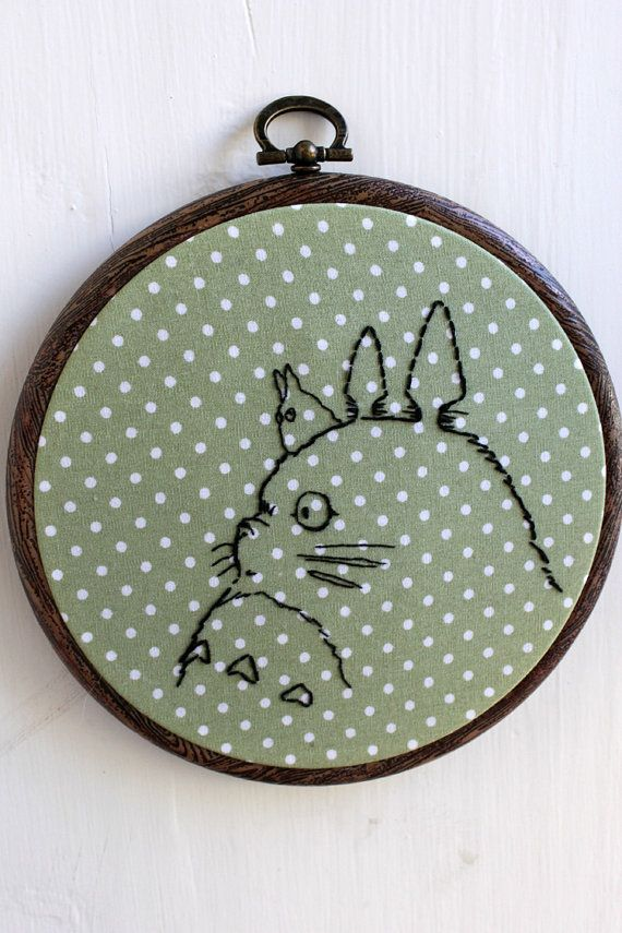 Totoro hand stitched textile wall art by Bridgeen on Etsy, £15.00