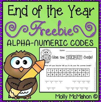 end-of-year-activitiesThe end of the school year is at hand! Here are some FREE activity sheets to help finish the year. Students read alpha-numeric keys and the solve a codes to reveal messages. In one instance, they create part of the key and code themselves.