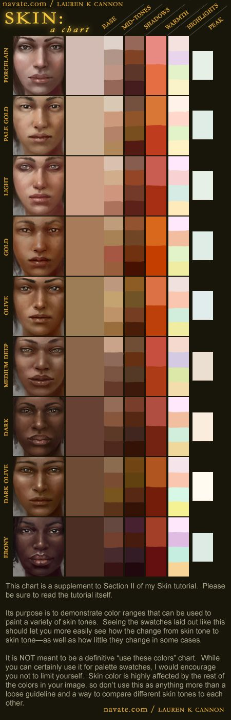 more like digital painting tutorial pt 2 by lithriel deviantart i think this is a handy chart for differentiating skin colors