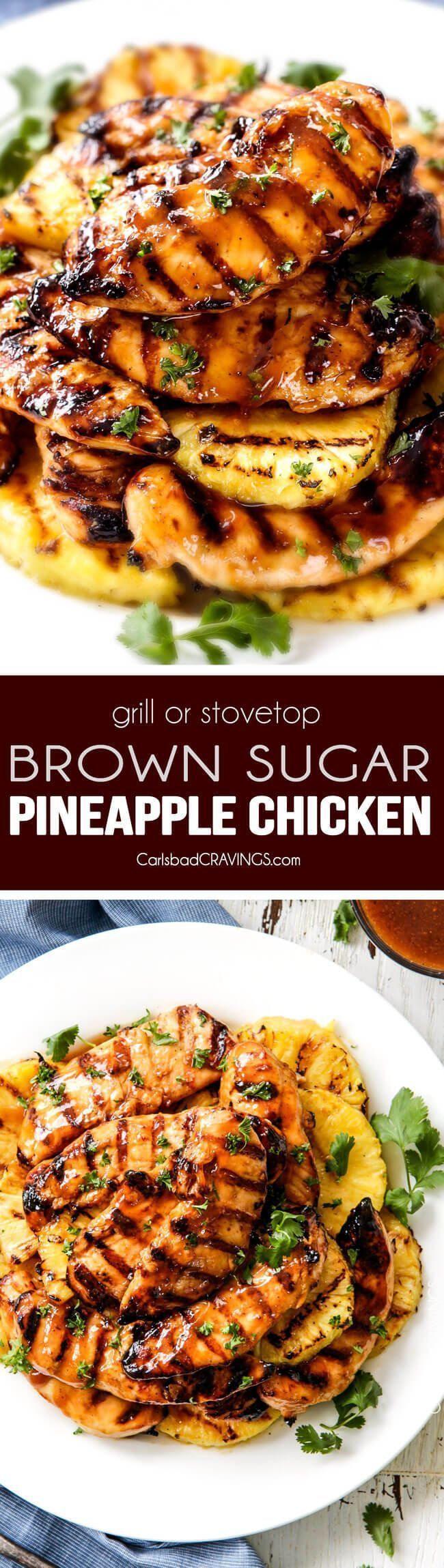 Stove Top or Grilled Brown Sugar Pineapple Chicken - just 10 minutes prep for this easy, flavor bursting chicken! The sweet and tangy flavor is amazing with just the right amount of chili kick and the marinade doubles as an incredible glaze that I love adding to my rice! This is the BEST Hawaiian Chicken! via /carlsbadcraving/