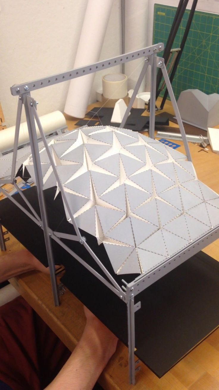 Tensile structure rigid origami expandable roof | Breathing Architecture by Harry Wei
