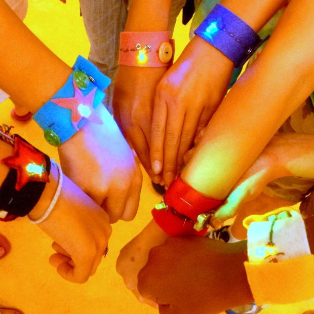 LED soft circuit bracelet. A great project to ease you child into soft circuits!