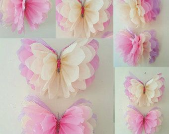 Handmade made to order beautiful butterflies/ pom poms These delightful Pom poms are the perfect decoration to brighten up any room/space to be admired by everyone. They are perfect for childrens birthdays or any special occasions. These pom poms are all handmade as shown in the pictures above please leave a message when ordering to let me know what colour is required pastel pink, yellow,turquoise, lilac,red, black,cadbury purple orange emerald green,peach,ivory,cerise pink,grey&#x2...