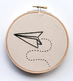 Paper Airplane Embroidered Wall Art