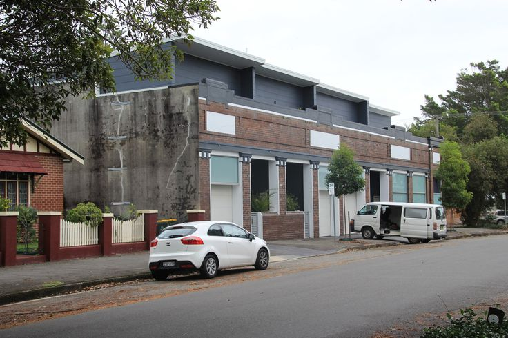 Corner shops converted to residential terraces. Newcastle, NSW AUSTRALIA.