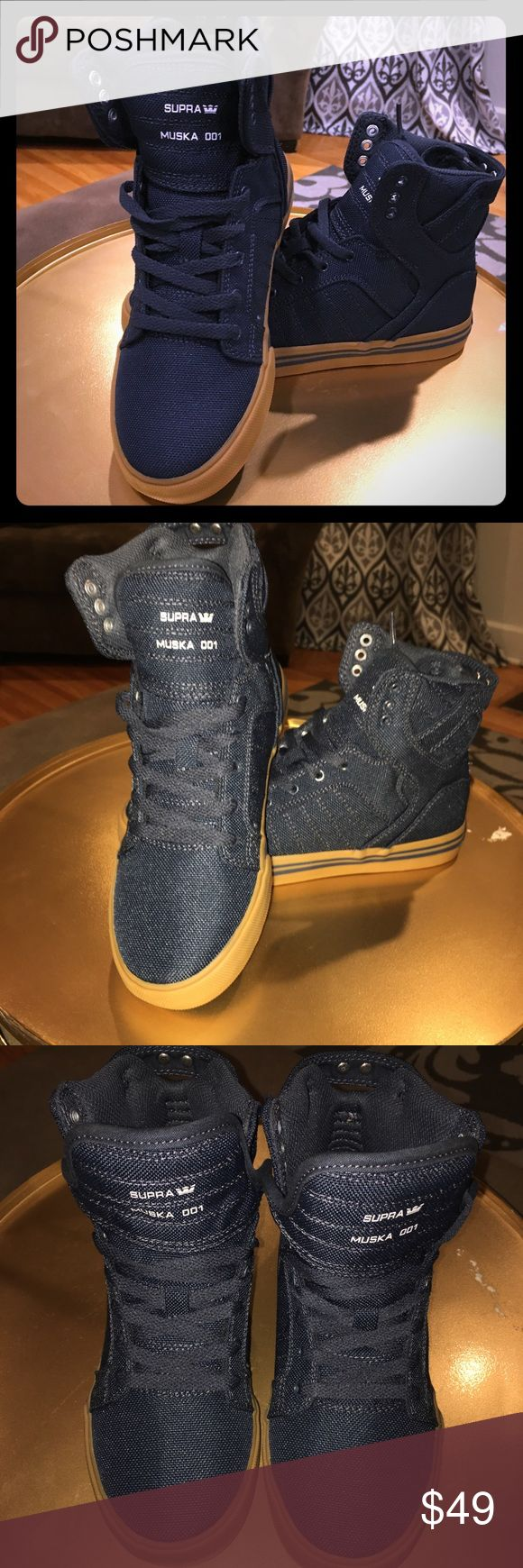 Firm! Supra Skytop High Tops Sneakers Skater Shoes I have reduced these shoes to the lowest possible price, so the price is FIRM on this item!  I am selling a pair of New in the original box,  Supra Skytop High Top Sneakers in US Youth Size 3. These beauties are Navy and look like denim. They are absolutely stunning! These came from Nordstrom's! Supra Shoes Sneakers