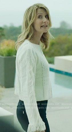 Renata's white fringed sweater on Big Little Lies.  Outfit Details: https://wornontv.net/67739/ #BigLittleLies
