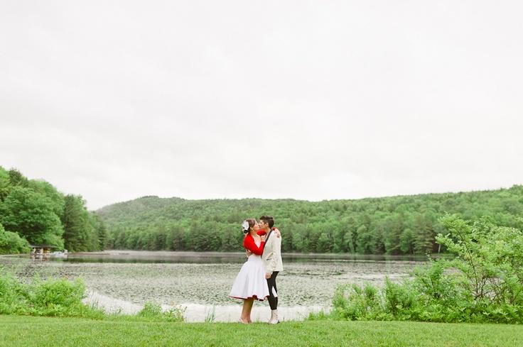 Lake Wedding, Camp Wedding, Lesbian Wedding, Short Wedding Dress / Tara McMullen Photography
