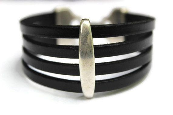 Leather Cuff Bracelet Silver Black Black by PepperPotLeatherShop, $41.99
