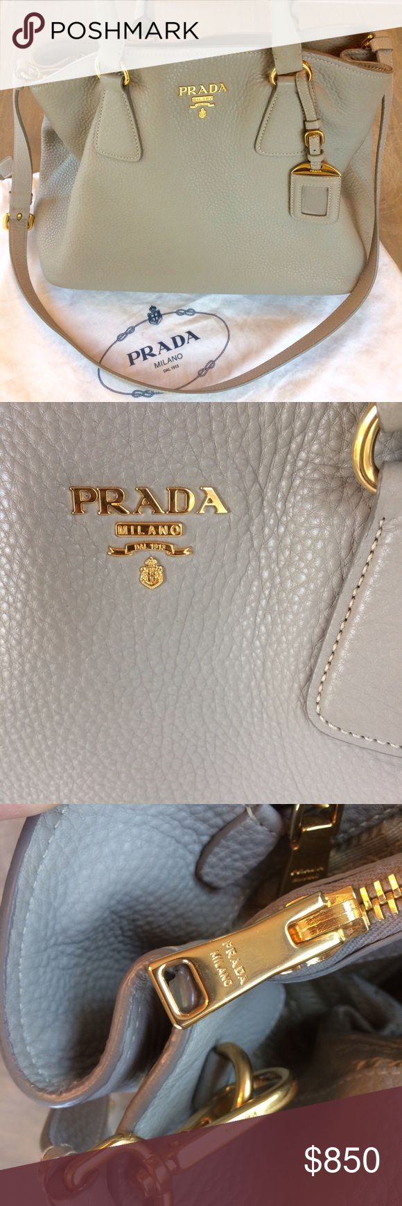 Prada Vitello Daino Purse In beautiful pomice color. Was purchased in 2014 and comes with duster & authenticity cards. Will be also authenticated by the wonderful Poshmark concierge team, so buy with confidence! The bag is in a very good used condition, I have another Prada bag that I always used, so this is well taken care of. Minimal wear on two of the corners but otherwise clean inside and out! Prada Bags