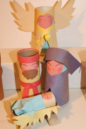 Nativity Scenes from paper rolls - Mary, Joseph, Jesus, the manger, & an Angel