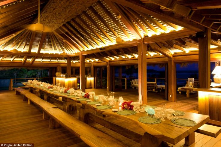 Richard Branson's 74-acre Necker Island <3 Al Fresco: Outside a table is laid big enough to seat all the guests on Necker at the same time