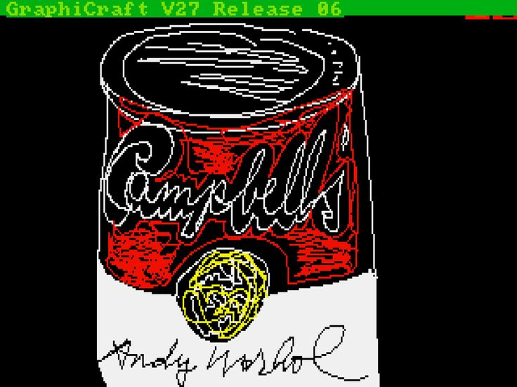 Andy Warhol, Campbells Soup Can, 1985, digital image on a Commodore Amiga home computer (The Andy Warhol Foundation for the Visual Arts, New York)