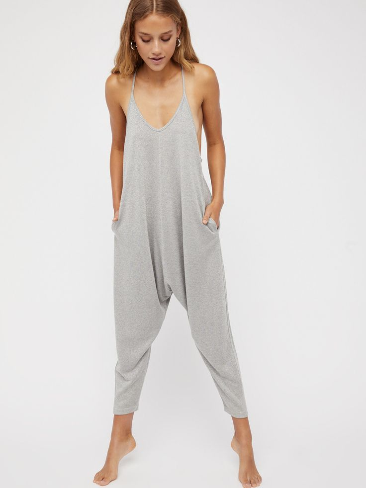 Why Not Shine Romper | Slouchy romper in a rainbow metallic shine.    * Harem style pants   * Dropped armholes   * Racerback   * Hips pockets