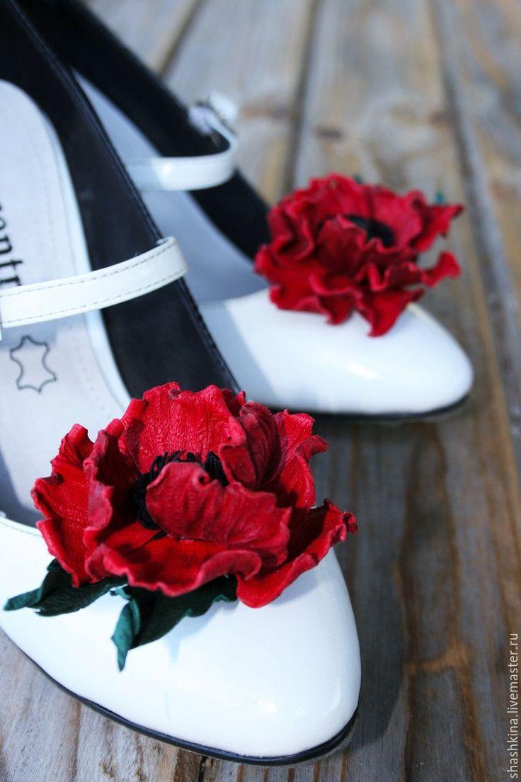 """Купить Цветы из кожи. Клипсы для туфель """"Маки"""" - ярко-красный, красные маки, клипсы для туфель"""