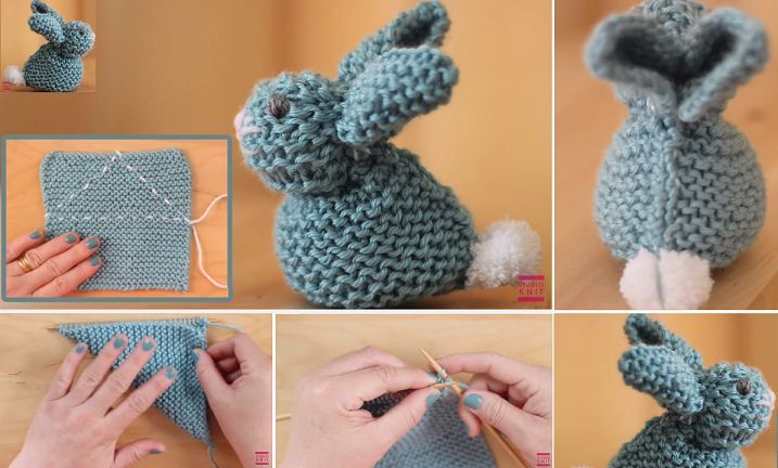 How to Knit a BUNNY from a SQUARE | UsefulDIY.com