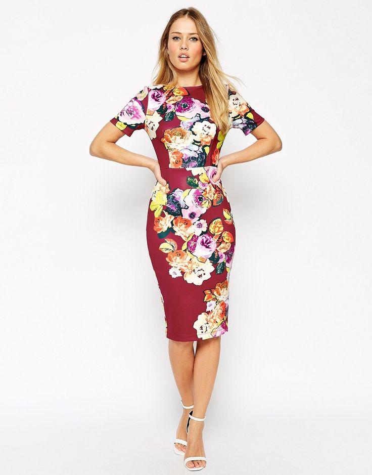 Image 4 of ASOS Floral Print Scuba Body-Conscious Dress