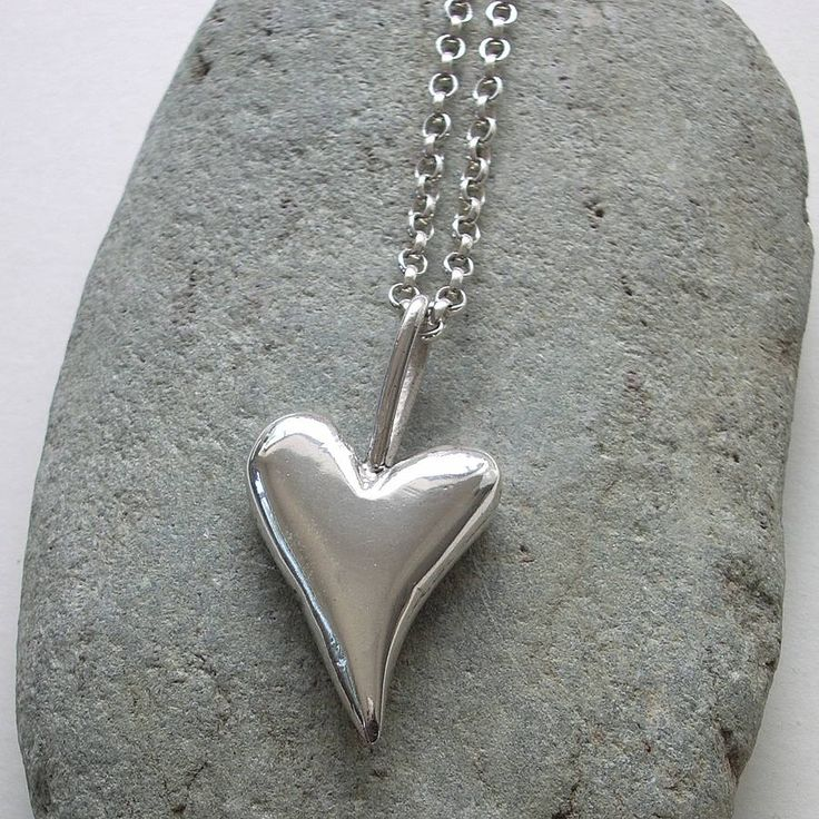 Cathy Newell Price Jewellery Chunky Big Solid Silver Heart Pendant