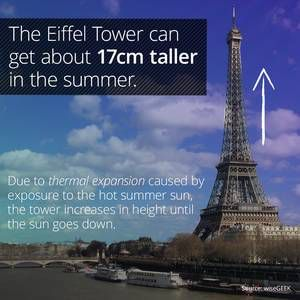 I learned something cool on the @curiositydotcom app: The Eiffel Tower Is Taller In Summer