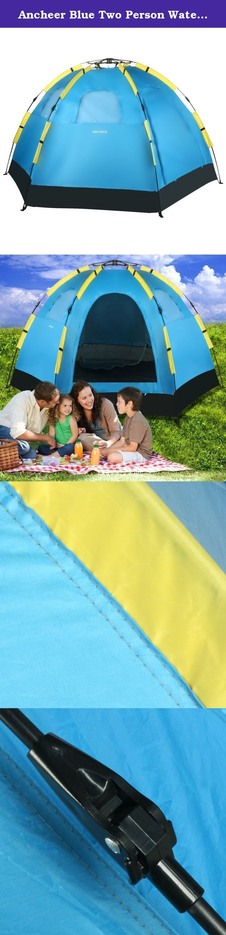 Ancheer Blue Two Person Waterproof Automatic Pop Up Portable Camping Hiking Tent With Carry Bag. --100% Brand New. --Brand: Ancheer --Tent Material: 190T Polyester --Base Material: 210D Oxford --Pole Material: Carbon Fiber --Color: Blue --Size: 138 x 138 x 145cm/ 53.8 x 53.8 x 56.6inch (L x W x H) --Door Size: 117 x 96cm/ 45.6 x 37.4inch (H x W) --Folding Size: 112 x 15.5cm/ 43.7 x 6.0inch (L x D) --Closure Type: Zipper --Door Quantity: 2 --Window Quantity: 3 --Feature: Automatic Pop Up...