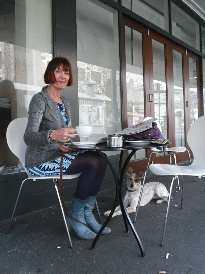 Pitt St resident Kay visits K Road each day for coffee with her delightful companion Stellar, blue heeler x