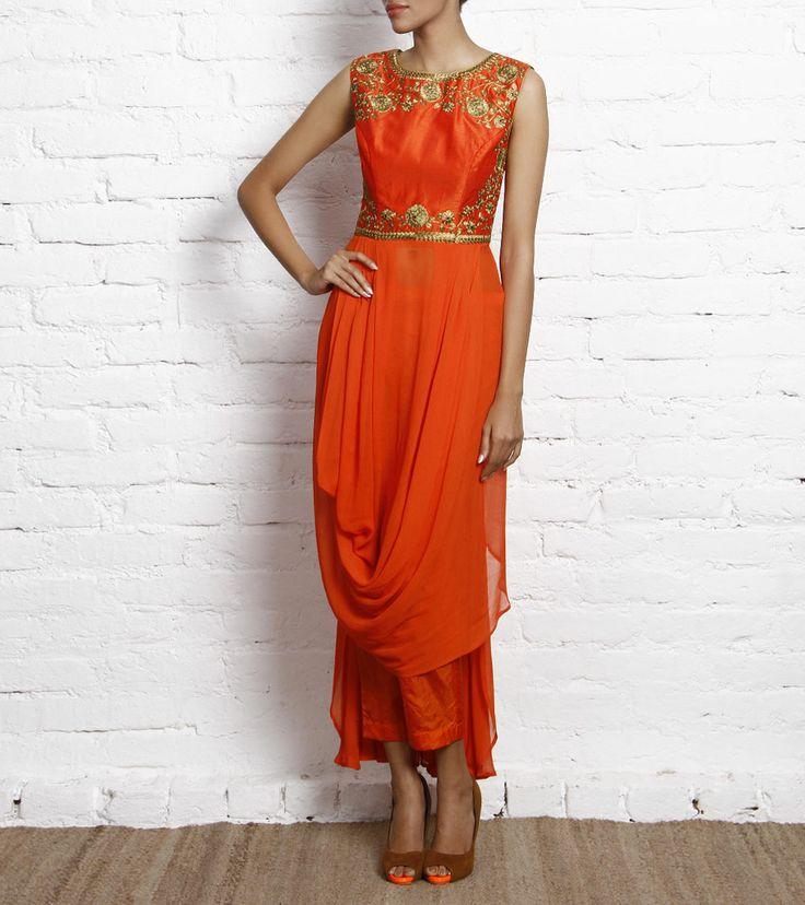 Orange Georgette Kurta with Pants. Karieshma Sarnaa